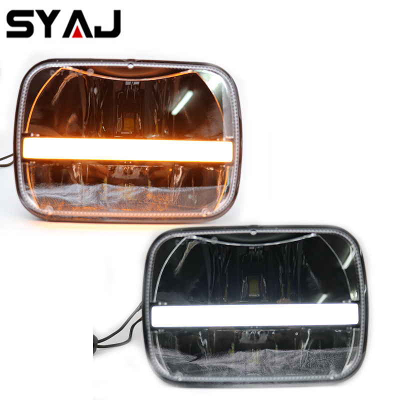 Popular Offroad Front Headlamp DRL Turn signal 5x7 square headlight bulb 7 inch rectangular led truck light for Jeep Cherokee XJ