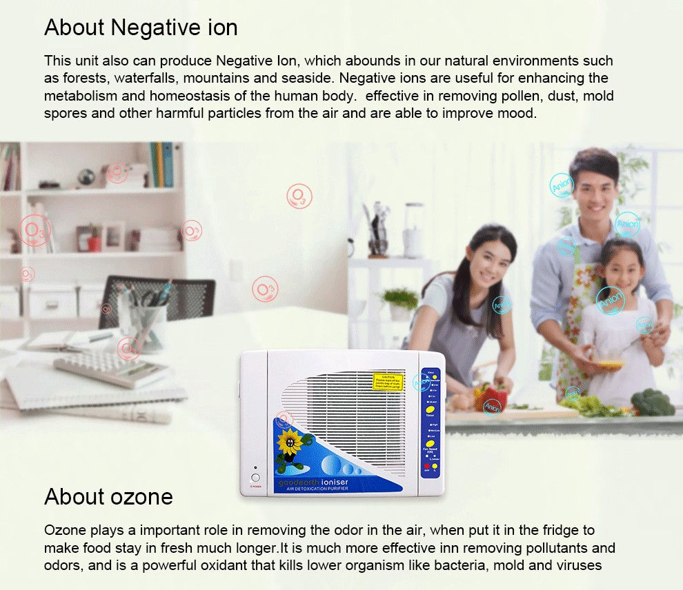 home use ozone air purifiers sanitizer with negative ion generators