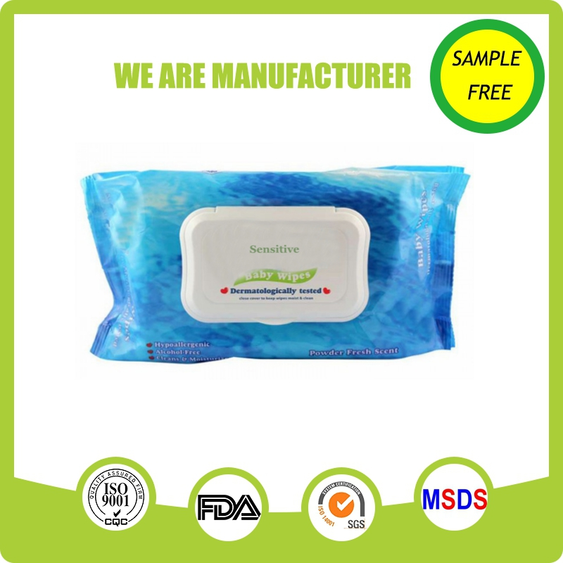 Soft eco friendly natural comfort aloe free baby wipes with plastic lid