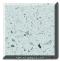 engineered stone white artificial quartz stone with mirror chips
