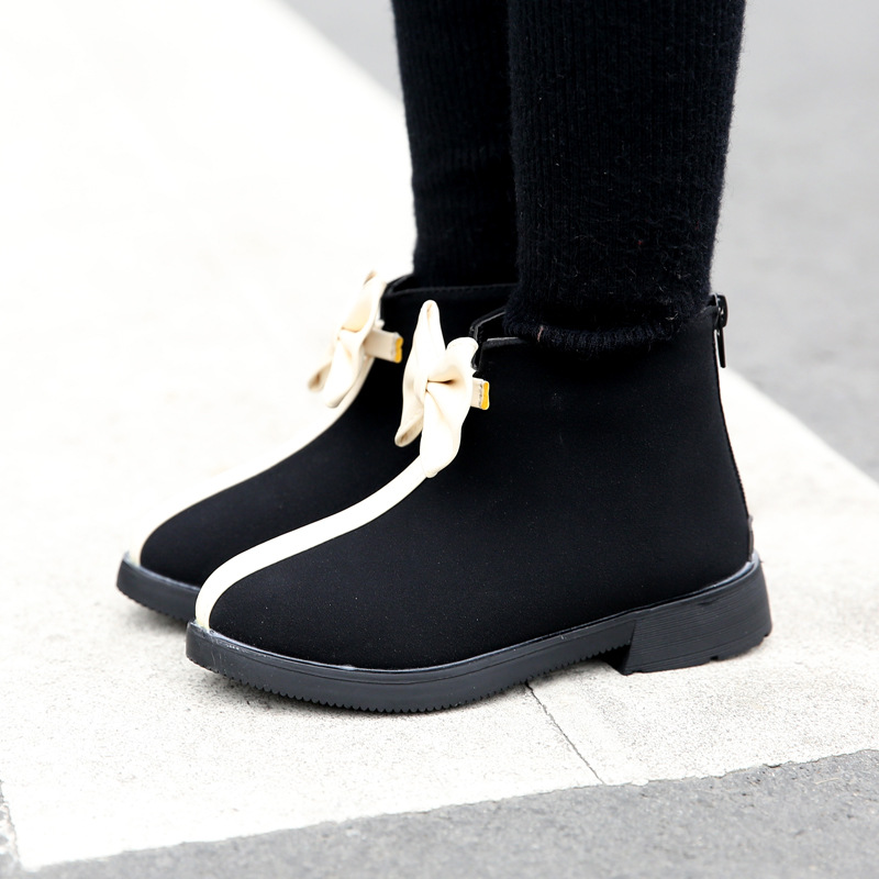 2017 winter new design black kids boots girls boots for kids with zipper