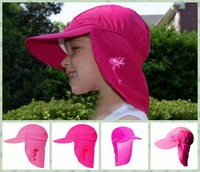 Wholesale In-Stock Girls Wide brimmed swim hat BONZ Girls Sun UV Protective Beach Safari Swim Flap Hat PINK for kids aged 2-8yrs