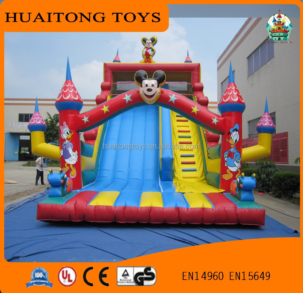 inflatable castle slide, mouse and duck air fun city colorful park game for kids