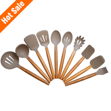 KK001A-KK010A Factory supply 10pcs silicone kitchen utensils set with acacia handle