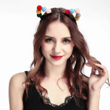 AP32110 New cute acrylic pom pom cat ear headband Christmas party girl hair band wholesale