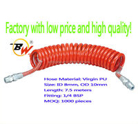Pneumatic 10mm Polyurethane material spiral coiled air hose with 1/4 BSP fitting