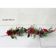 artificial christmas decorative Poinsettias and pine needle garland wholesale