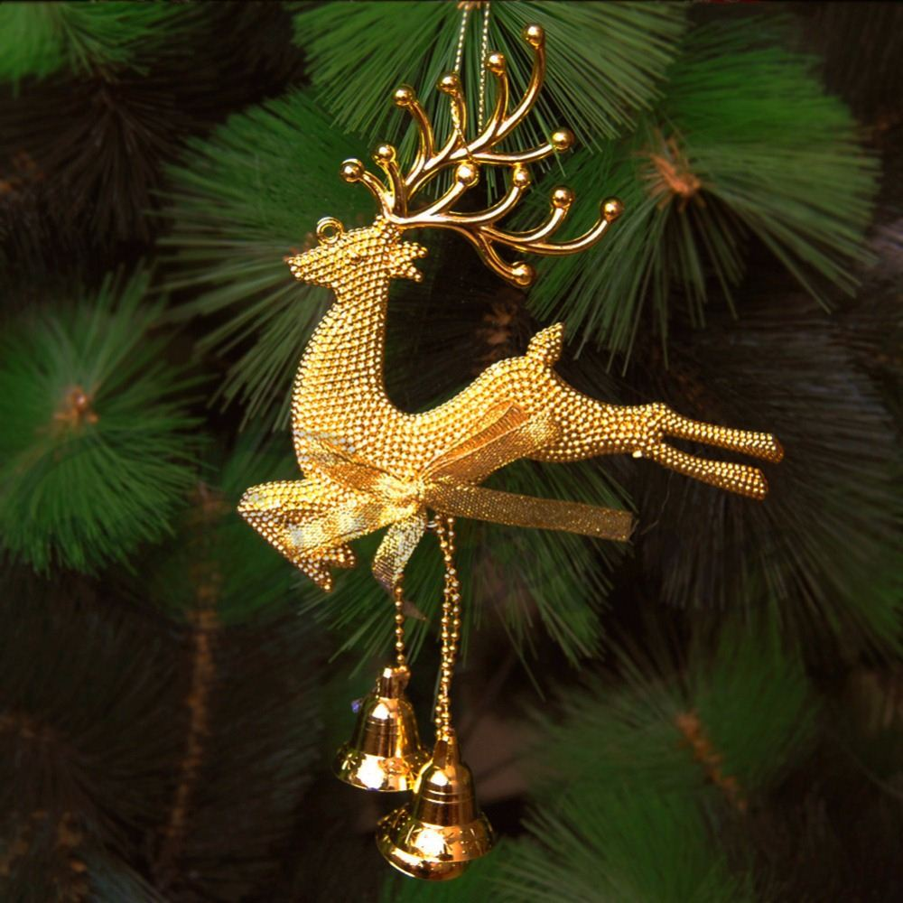 Reindeer Christmas Tree Hanging Ornament Party Xmas Decor Bauble Deer With Bells