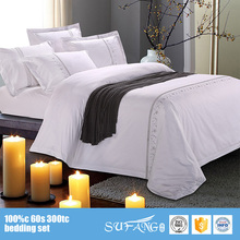 hotel bedding wholesale white cotton embroidery duvet covers 240*260 hotel bedding sets 5 star