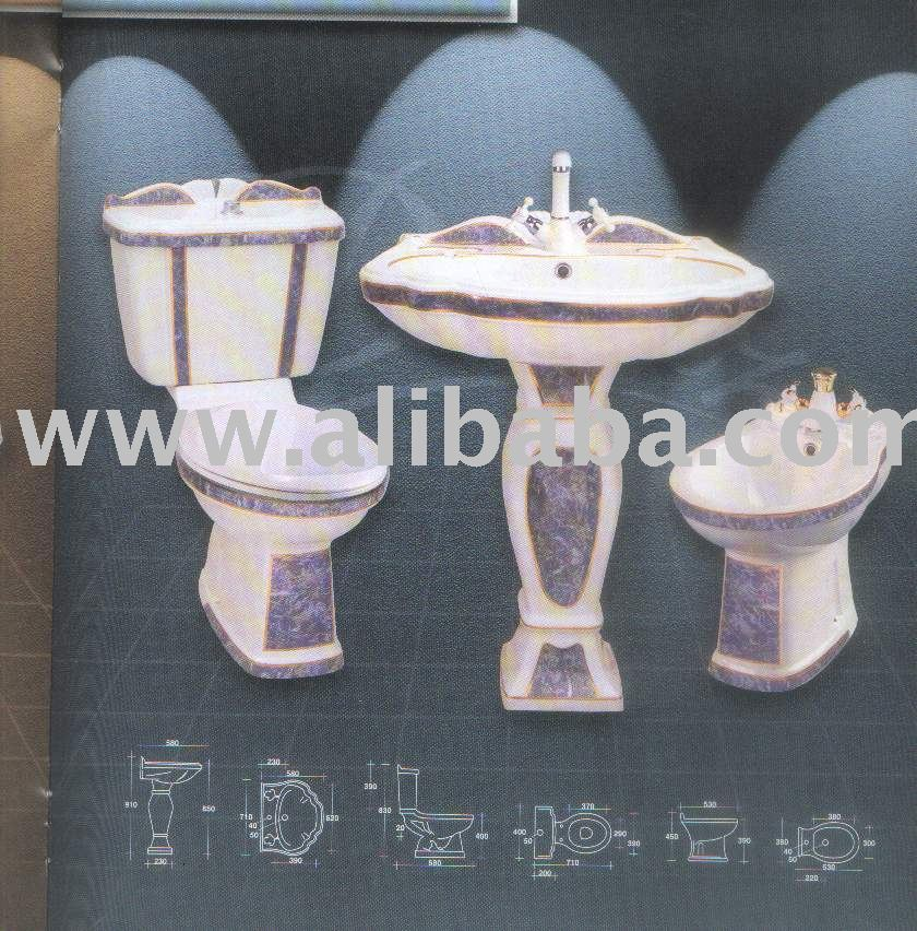ALMAS DECORATED CERAMIC BATHROOM SET