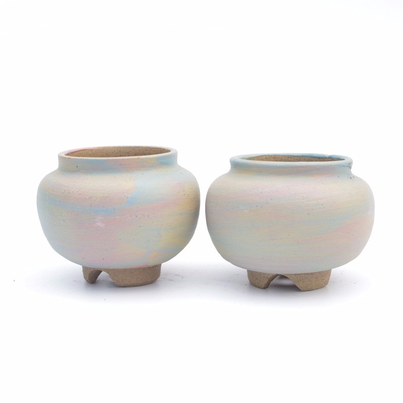 new style flower curved rock cremation pot