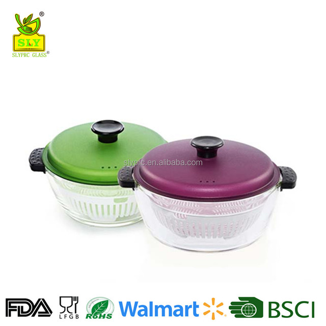 Oven safe glass pot with silicone handle/glass casserole with pp lid