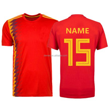Hot sell cheap 2018 new design spain soccer jersey customize name and number
