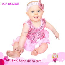 Boutique Sleeveless Baby Girls Sequin Tutu Rompers Matching Headband Summer Shiny Baby Romper