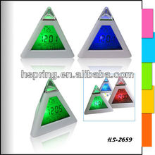 Colorful changing pyramid alarm table clock