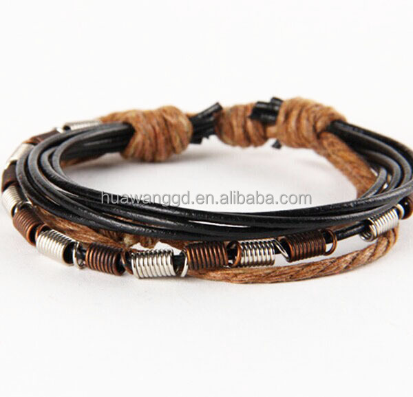 Leather bracelet stainless steel, real leather bracelet closure, metal clasp leather bracelet