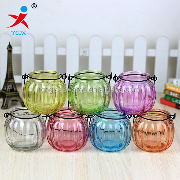 decorative colored pumpkin glass hanging mugs with metal handle