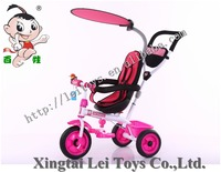 Wholesale exercise safety three wheel child tricycle metal bicycle,movable canopy rotary seat baby bike tricycle for kid pushbar