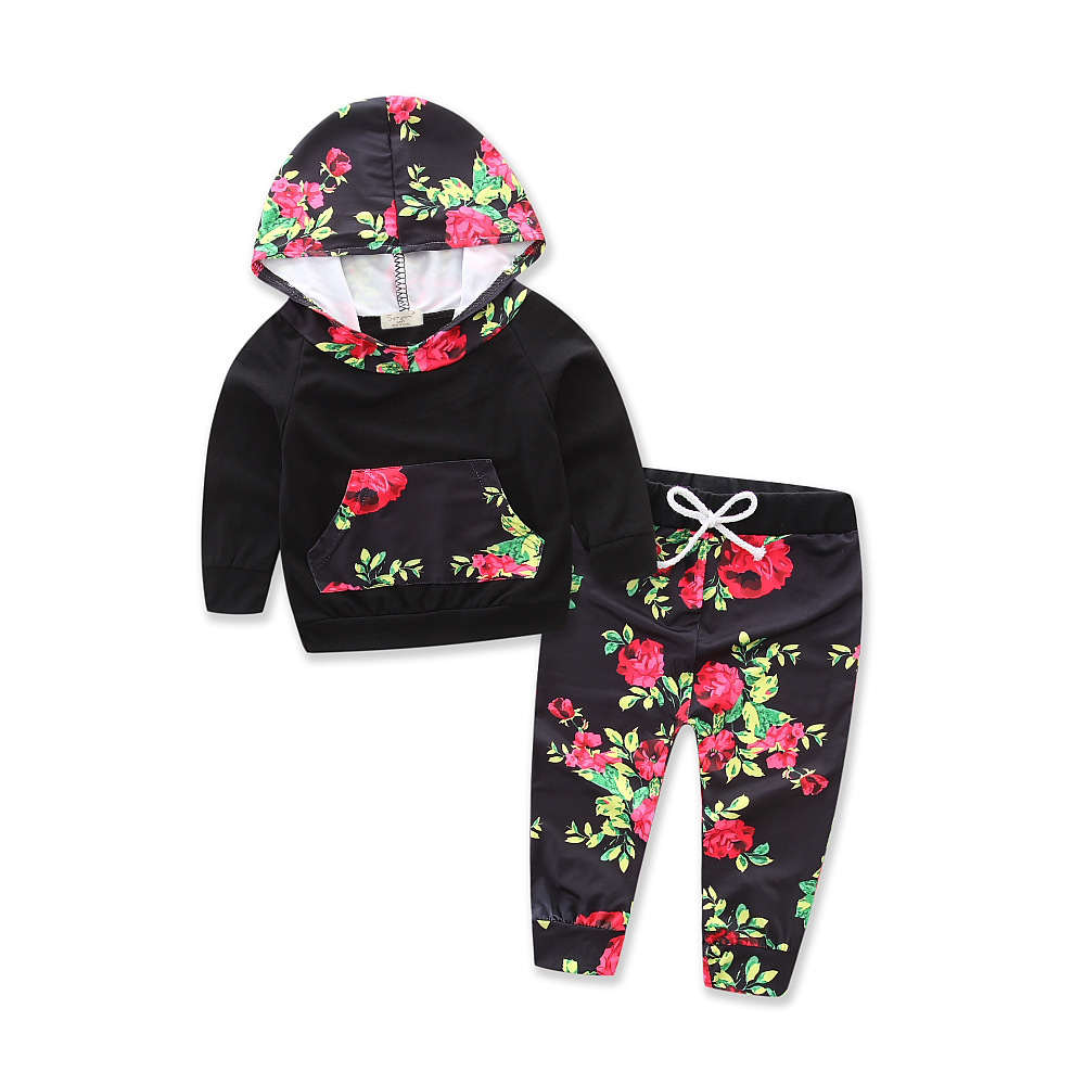 Baby Clothing Newborn Girl Black Print Long Short Sleeve Tops+ Floral Pants 2Pcs Outfits Set Clothes