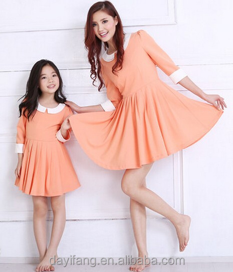 latest women nice dress, young girl orange dress, mother and daughter matching clothing infashion