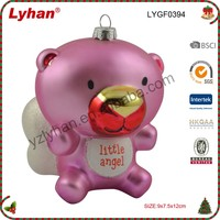 Lyhan glass little angel bear for 2017 Christmas Tree Decoration