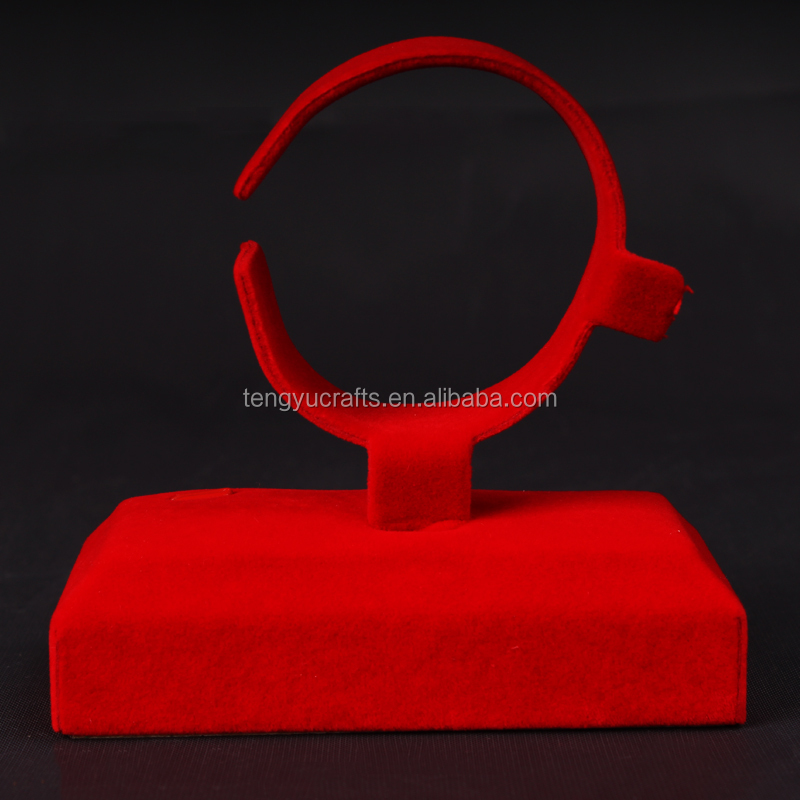luxury red velvet jewelry counter C clip holder display case rack leather watch stand