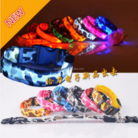 Free Shipping Safety Pets Dogs LED Collar Lighted up Nylon Camouflage Pattern LED Collar S M L XL