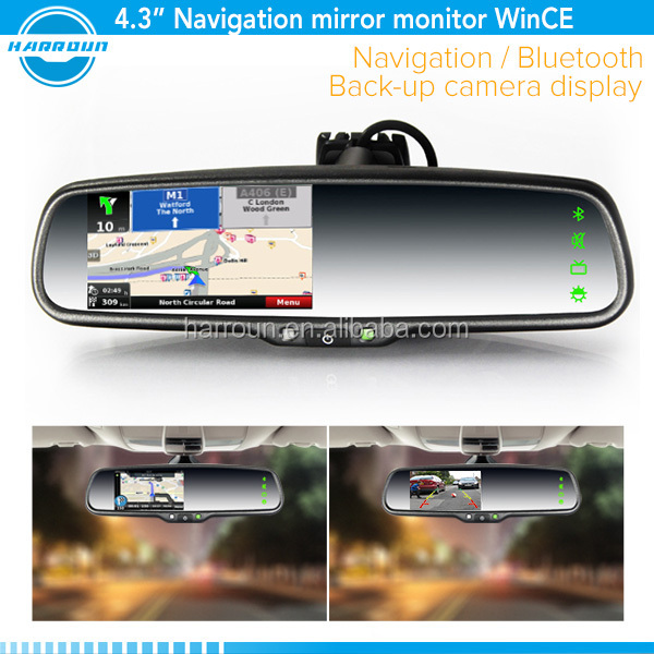 4.3 inch gps navigation garmin rearview mirror with bracket reverse camera