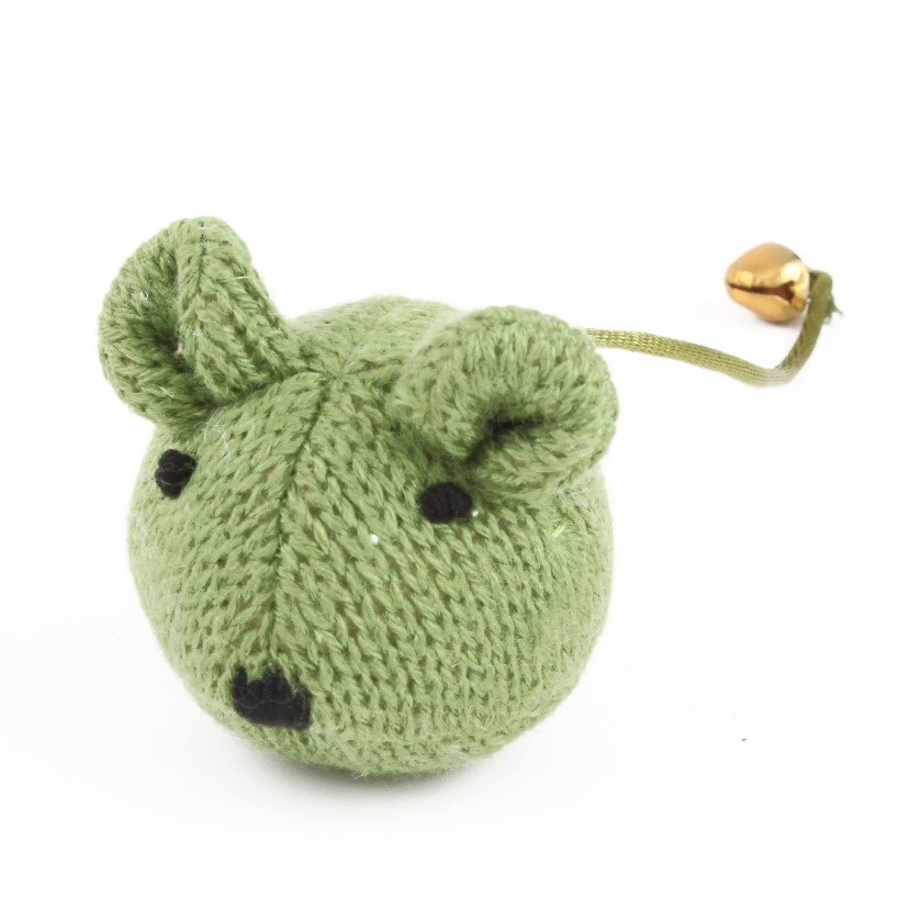 New premium hand knitted green mouse cat scratched toys