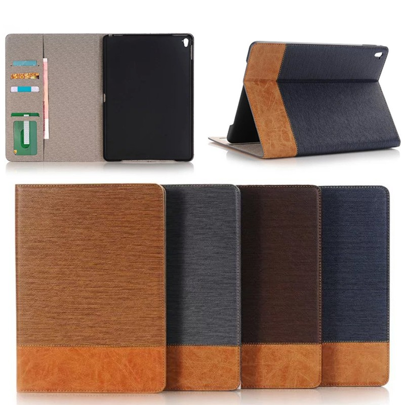 cross pattern leather cover with card holder flip case for ipad pro 9.7 with wake up /sleep function
