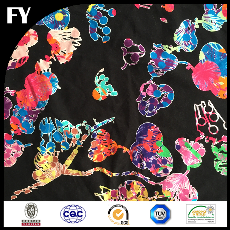2017 custom digital print cotton jersey fabric wholesale