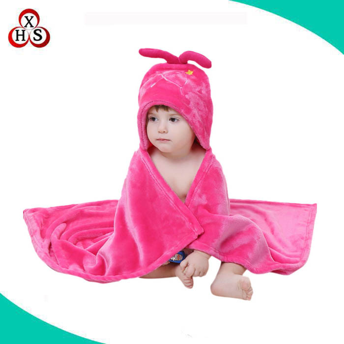 wholesale soft Flannel Blanket baby bath towel with hooded bear ears