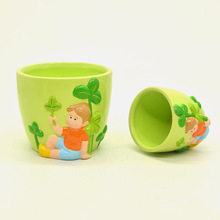 Wholesale round shape indoor ceramic flower pot with cute painting design