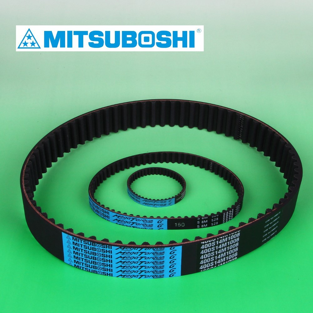 Mitsuboshi Belting Mega Torque rubber timing belt for both low and high speed torque. Made in Japan (auto timing belt)