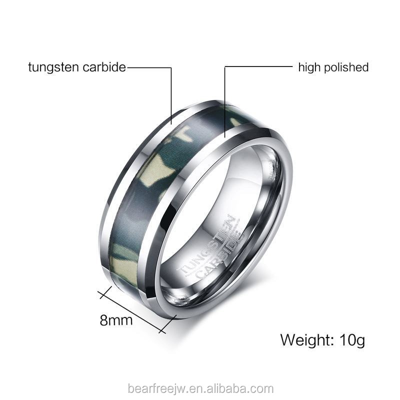 Mens 8mm Tungsten Ring Green Camo Hunting Camouflage Outdoor High Polished Comfort Fit