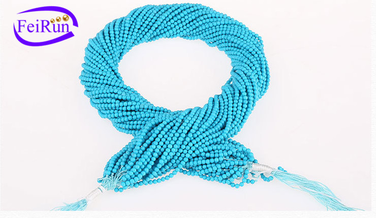 2-3mm hot selling diy accessories natural small blue turquoise beads strand