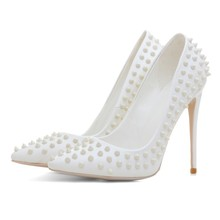 Latest high heel ladies white leather shoes beautiful evening party shoes for women