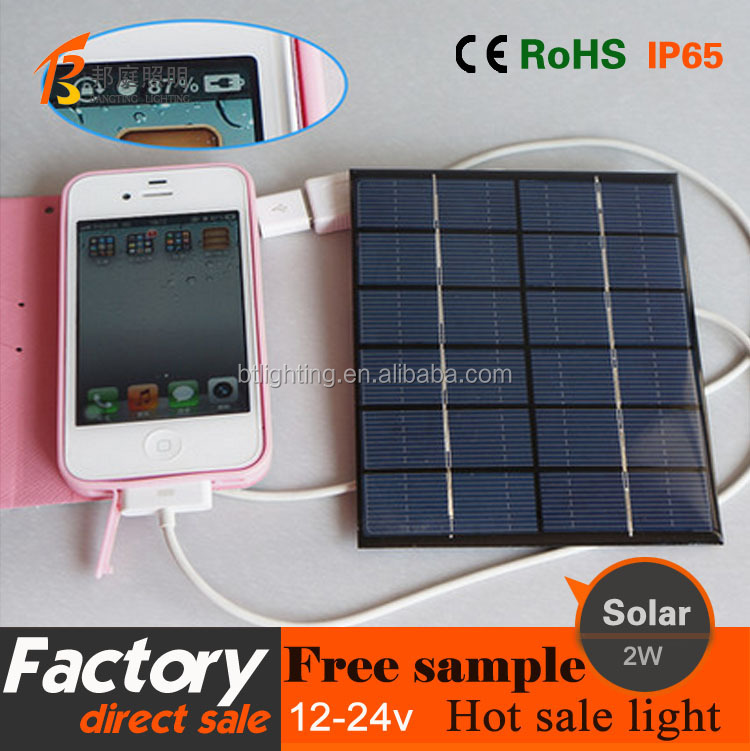 1 High quality 6V 2W portable mobile solar charger,solar mobile charger for digita electronic products