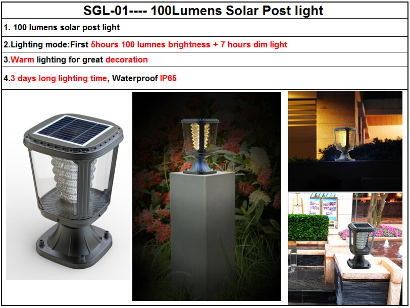 Modern Decorative Solar Gate Post Led Pillar Light
