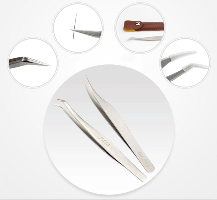 Wholesale private label stainless steel tweezers for eyelash extensions