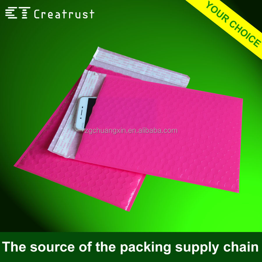 Hot Sale Fashionable Metallic Cushioned Mailer Pink Bubble Envelope for Garment