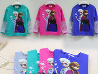 Hot New Products For 2014 For Children Long Sleeve Tshirt Printed Frozen Cotton Shirt