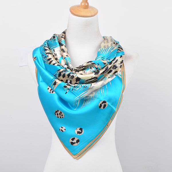 branch design square head silk scarf