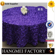 luxury special embroidery purple color satin rose hotel table cloth for wedding