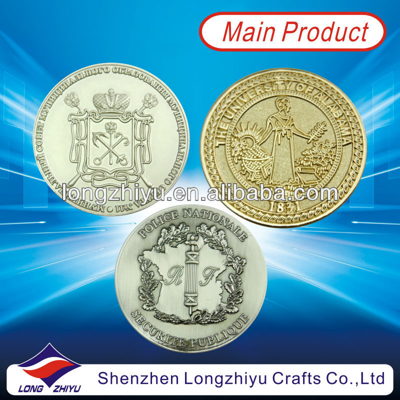 Gold and silver custom cheap badge medal replica metal copy coin for school commemorative