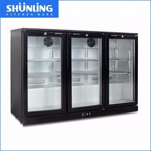 Supermaket direct cooling underbar cooler,3 glas door counter top electric beer back bar cooler