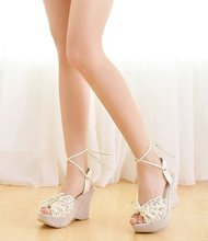 2012 lady lace wedge sandals