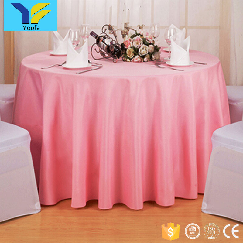 China professional table cloth factory OEM designs restaurant round plain dyed polyester christmas wedding table cloth