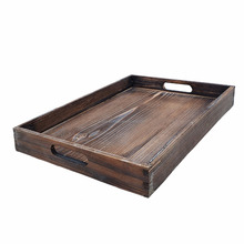 Rustic Look Matches Home Dark Brown Wooden Serving Tray With Handles For Easy Carrying