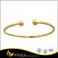 2016 New design 14K Yellow Gold West Indian Bracelet Bangle with End Balls